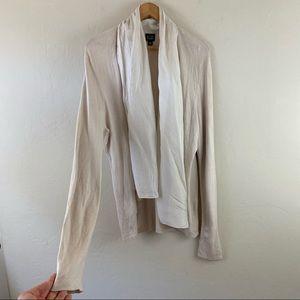 Eileen Fisher Ivory Silk Long Sleeve Open Cardigan